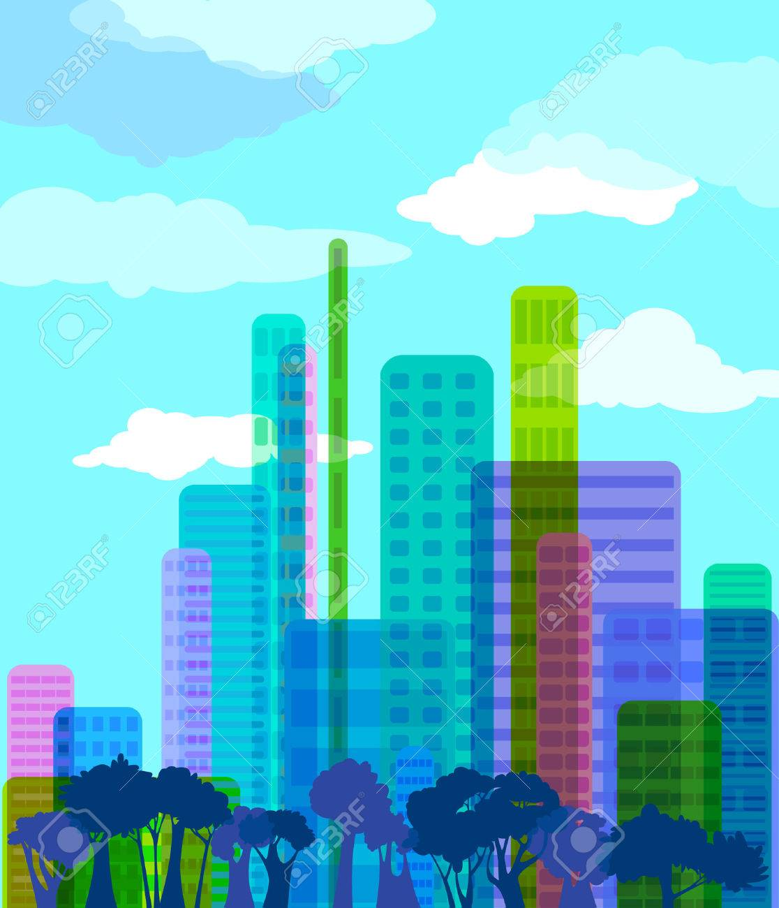 Colorful abstract city, vector illustration Stock Vector - 7314654