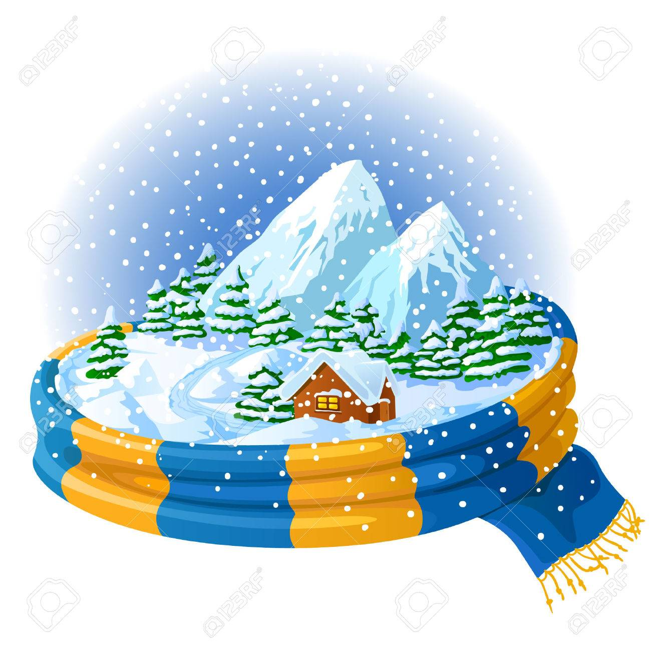Winter icon with landscape, wrapped in a scarf Stock Vector - 7449533