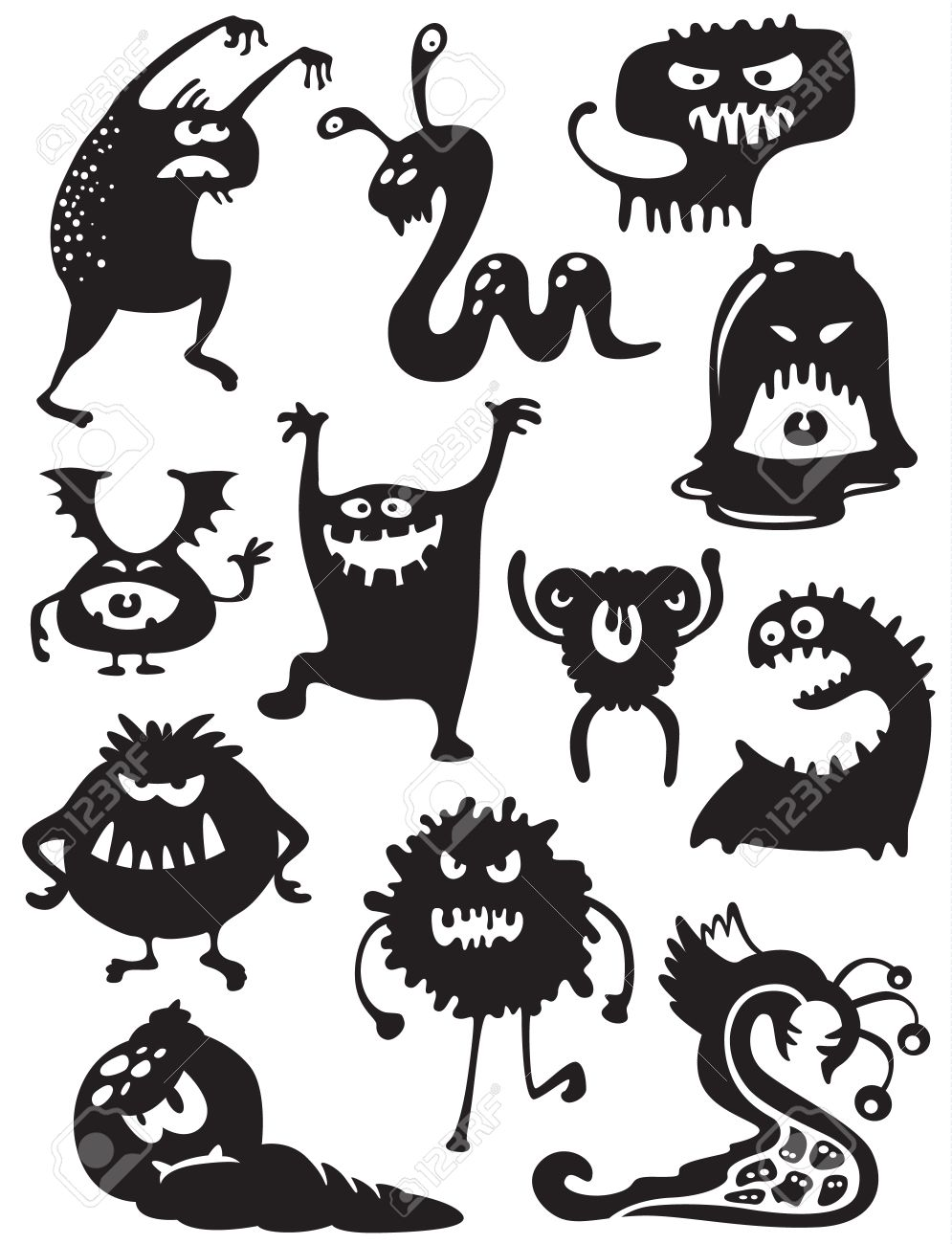 Cute Doodle Monsters Silhouettes of Cute Doodle