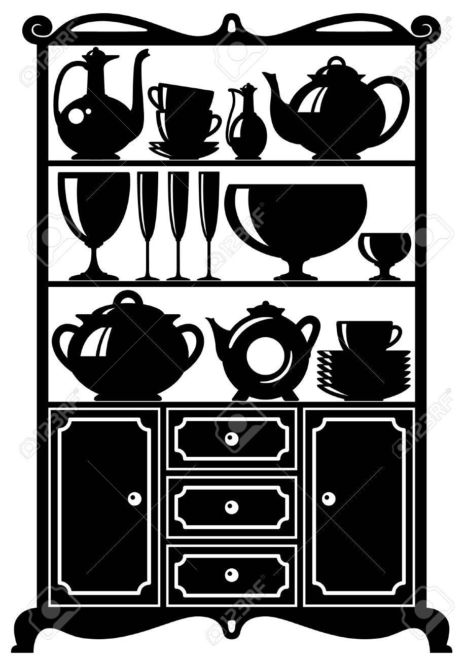 Silhouette Of A Cabinet With Kitchen Utensils Royalty Free Cliparts ...