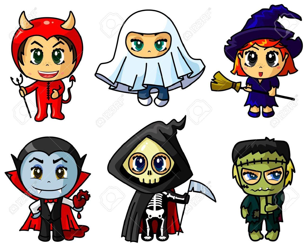 Cute chibi halloween caracters set Stock Vector - 10826907