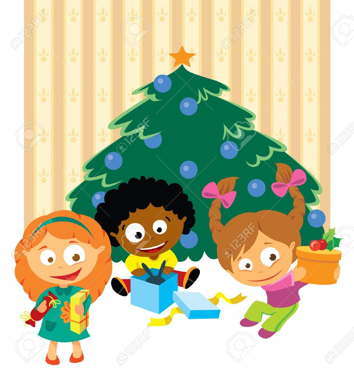 children open a gift under the christmas tree royalty free
