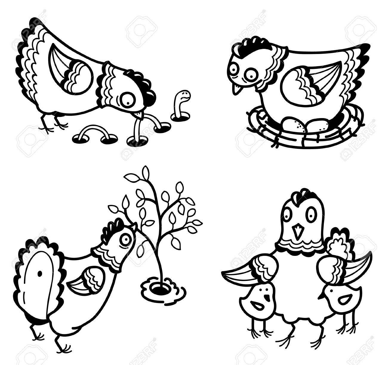 Cute chicken set (outline version) Stock Vector - 12248898