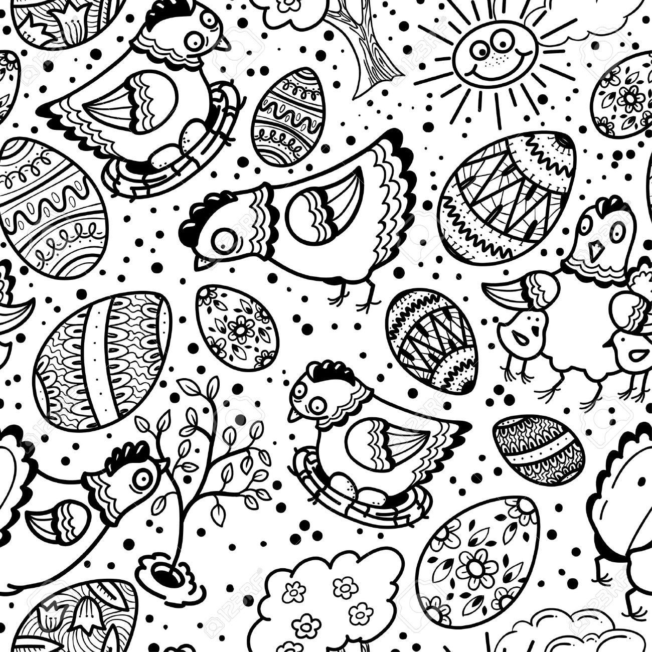 Cute Black And White Easter Seamless Pattern Royalty Free Cliparts