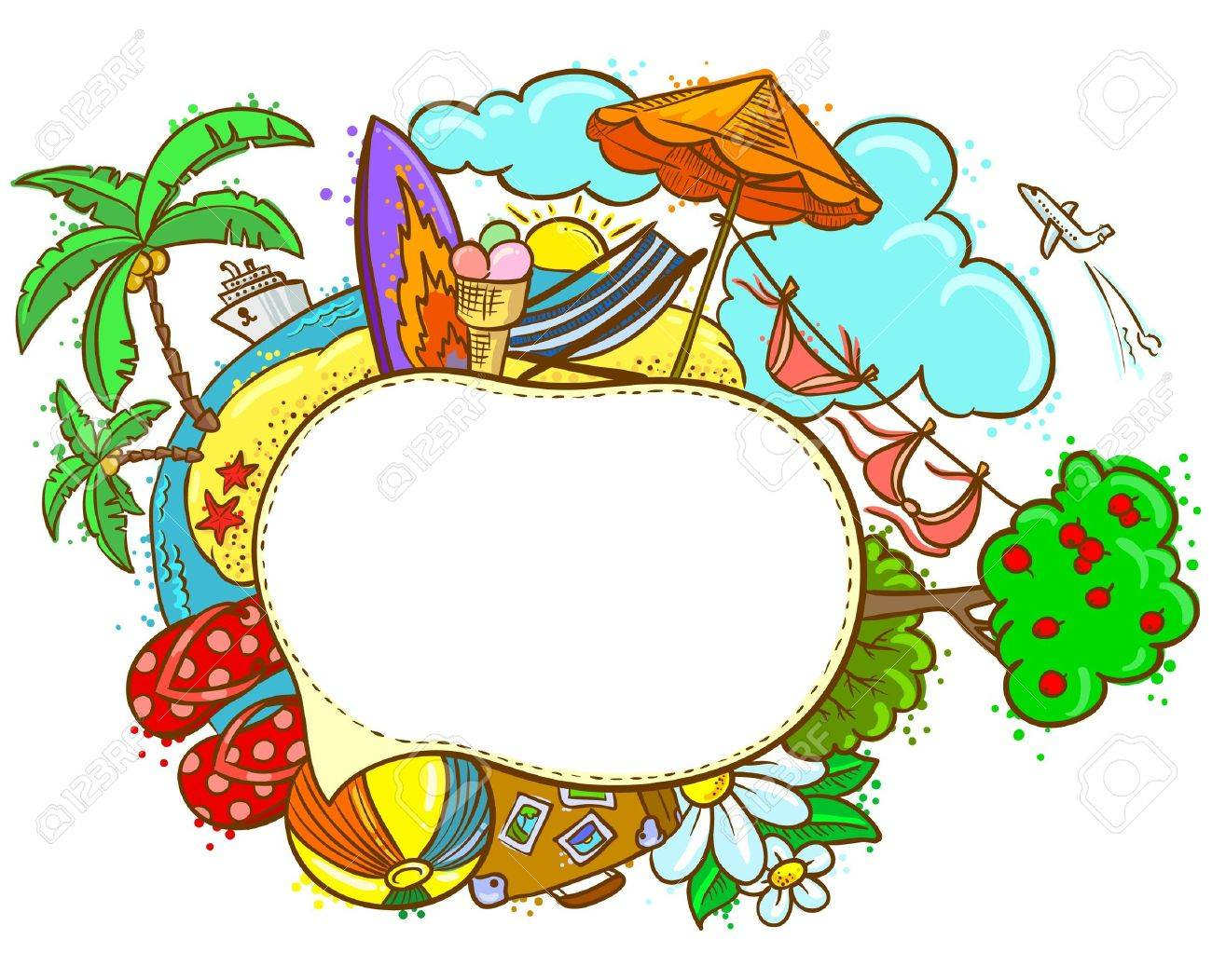 summer hand drawn color speech bubble royalty free cliparts