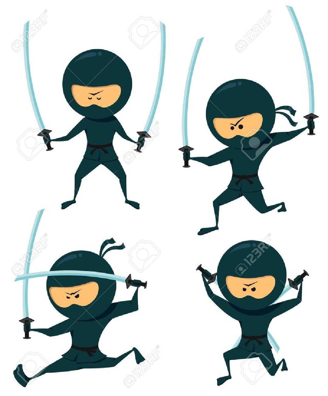 cute ninja collection. ninja with katana royalty free cliparts