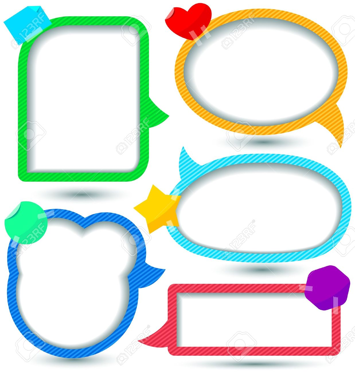 cute speech bubbles templates set royalty free cliparts vectors