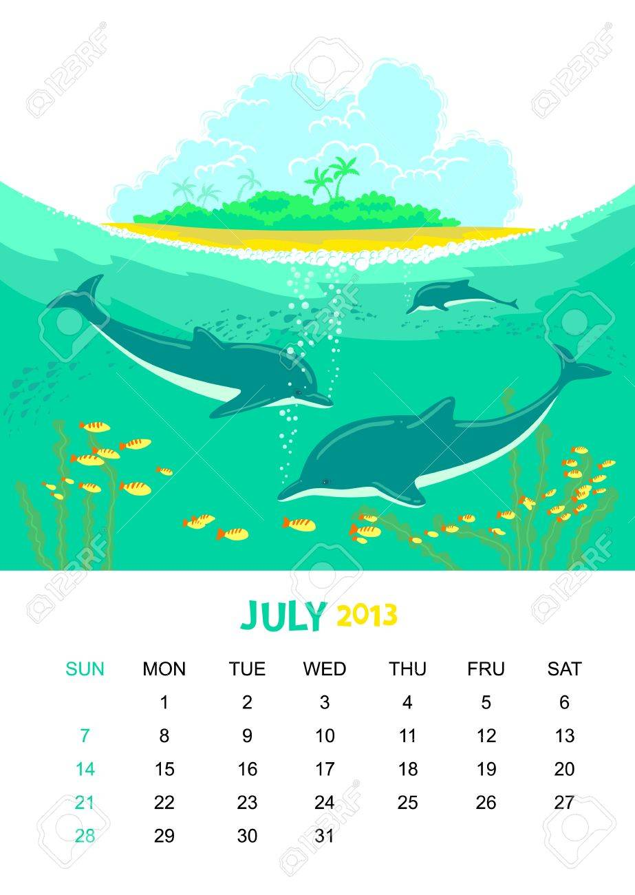 calendar 2013. July. Animals design Stock Vector - 15026697