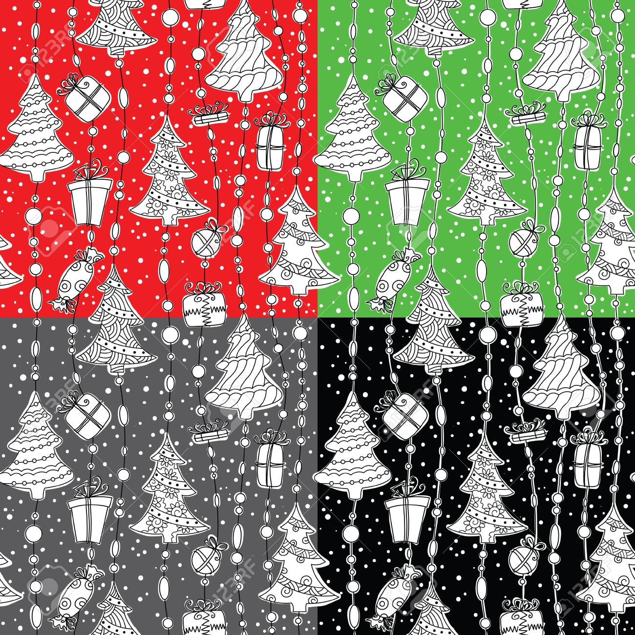 Cute Christmas seamless pattern set Stock Vector - 16136009