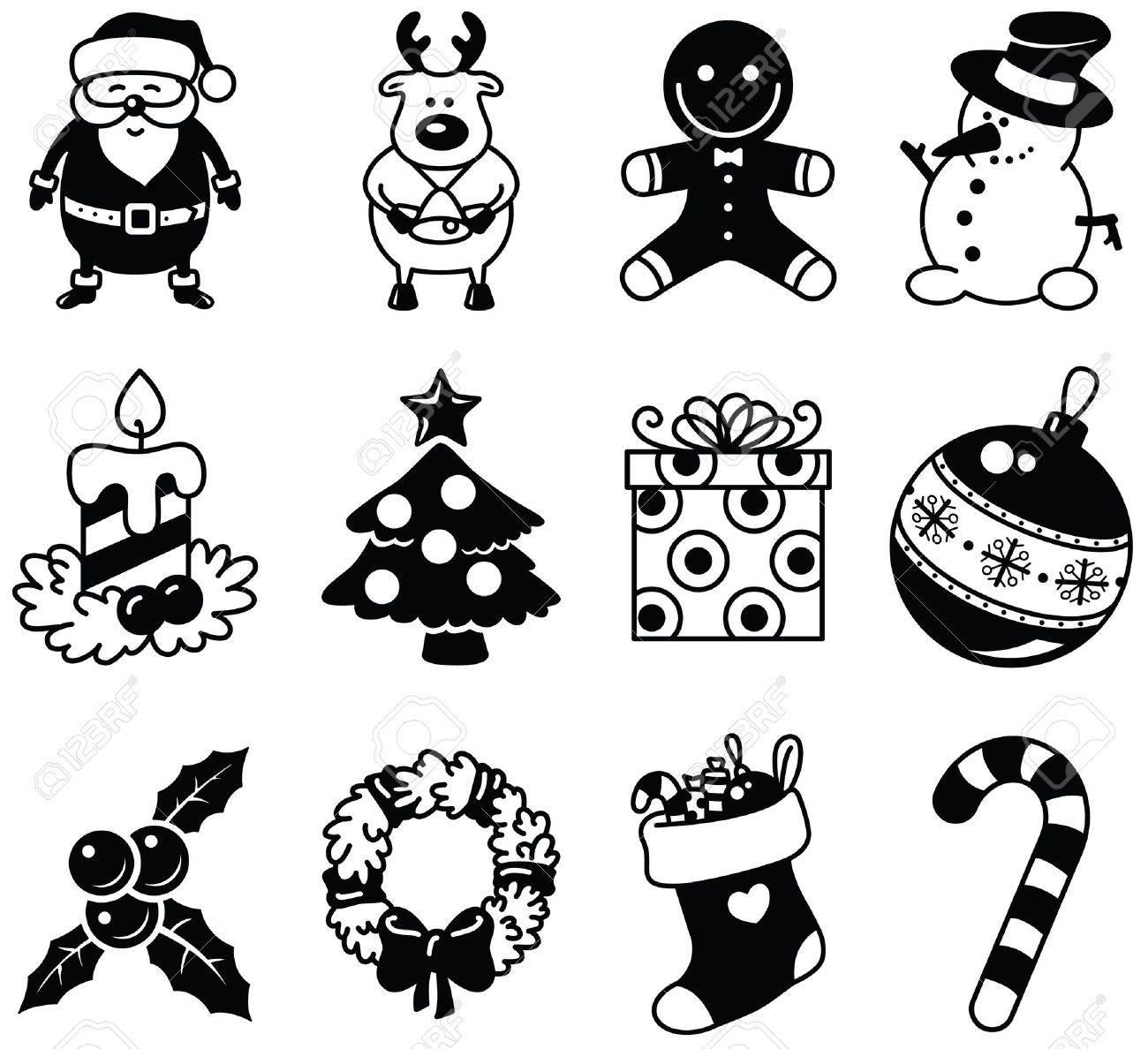 Set of Christmas minimalistic icons Stock Vector - 16258794