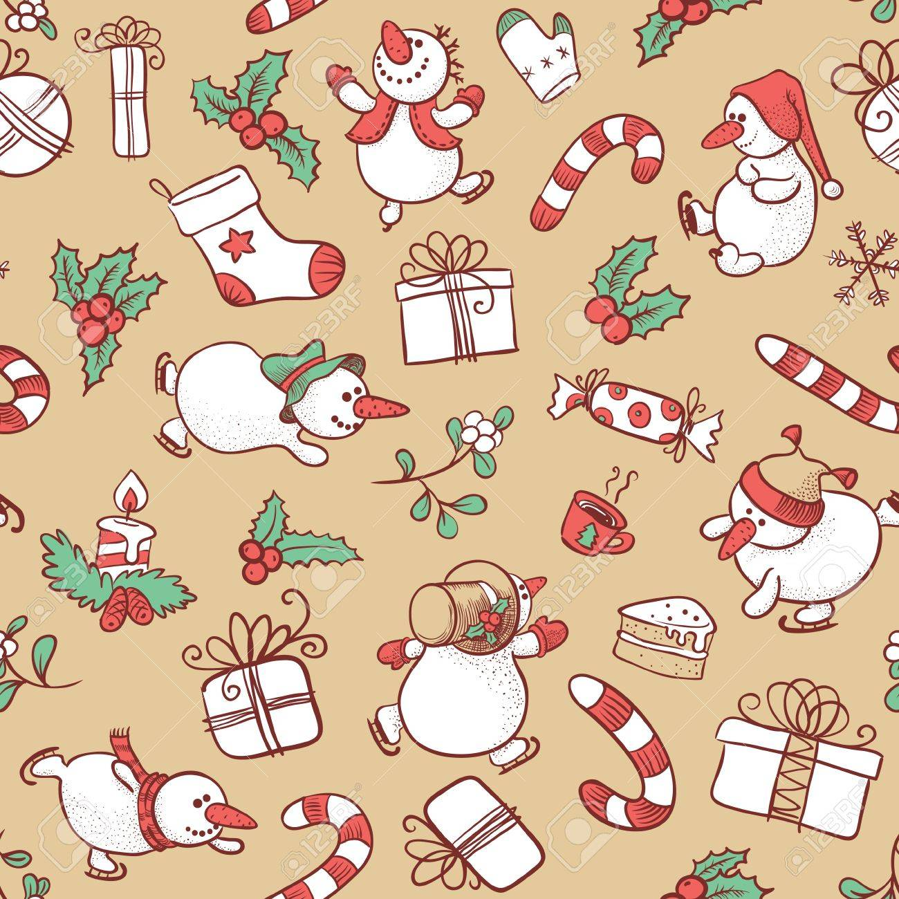 Doodle Christmas seamless with Snowman Stock Vector - 16407042