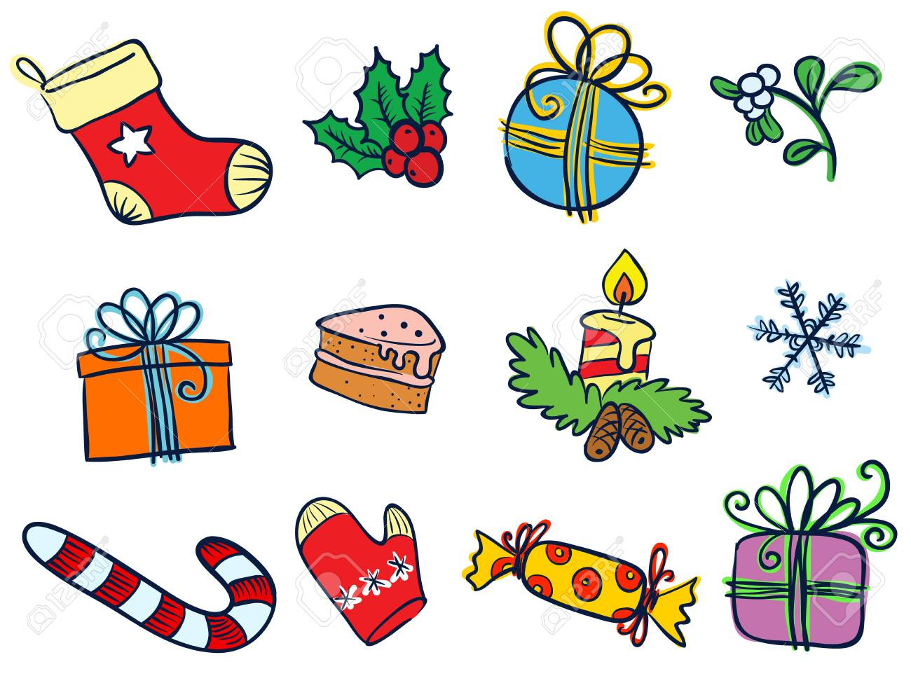 Christmas objects doodle set Stock Vector - 16407043