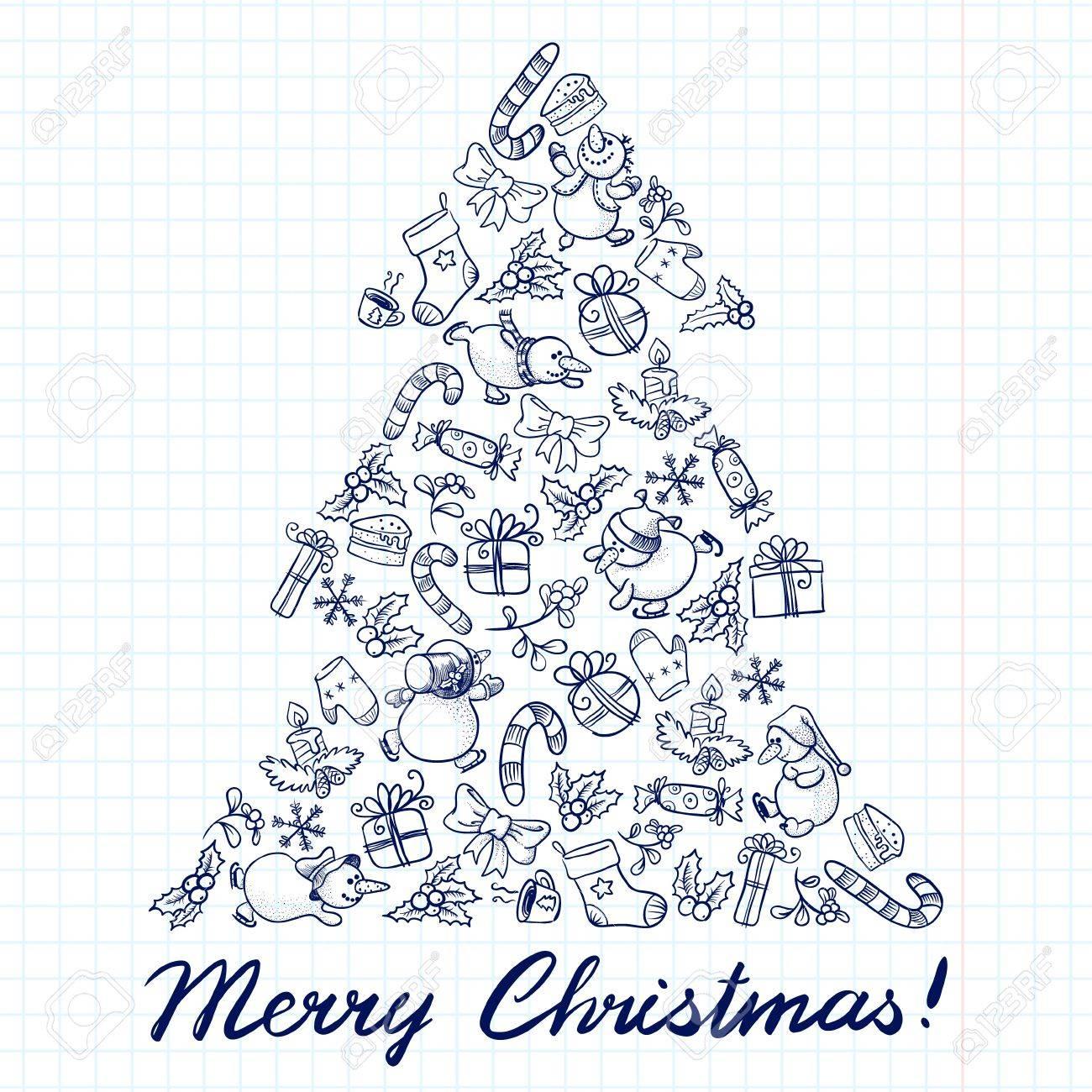 Cute doodle Christmas tree shape Stock Vector - 16503863