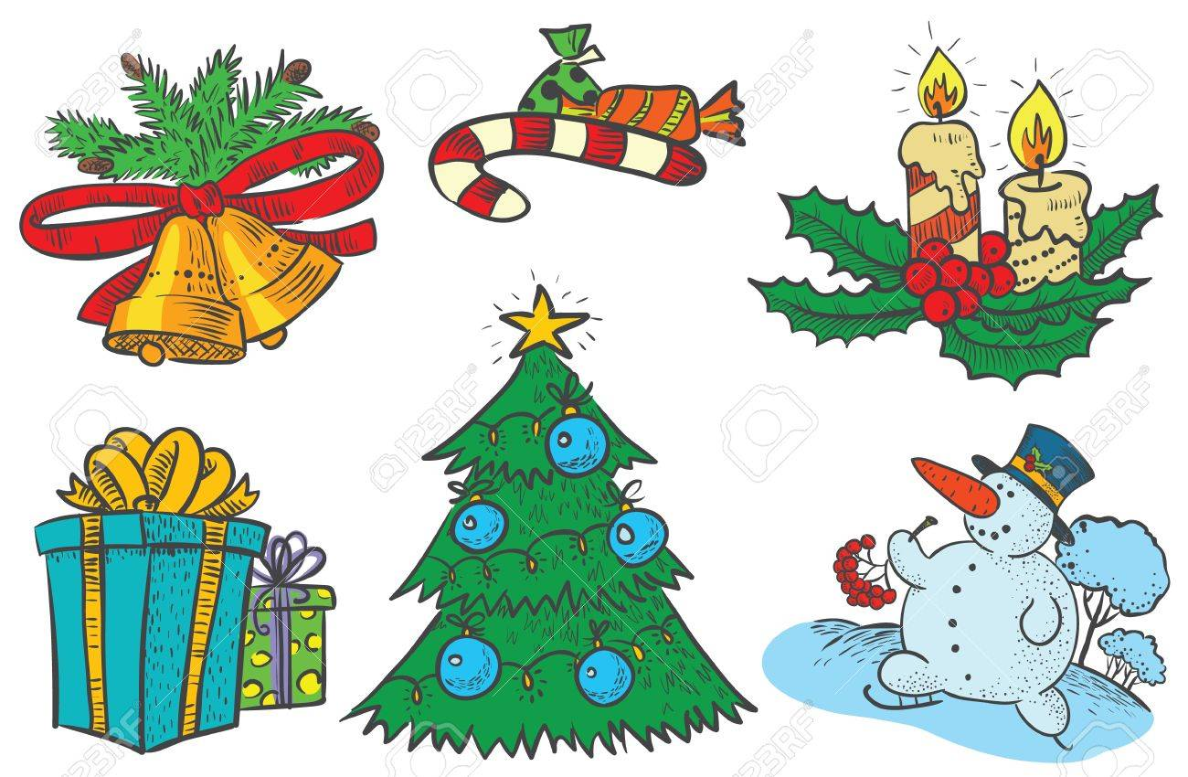 Cute Christmas stuff set Stock Vector - 16725183