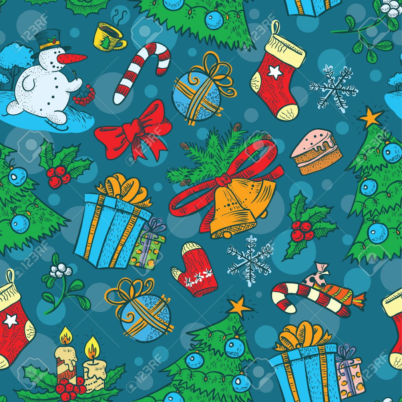 Cute Christmas seamless with Snowman Stock Vector - 16799077