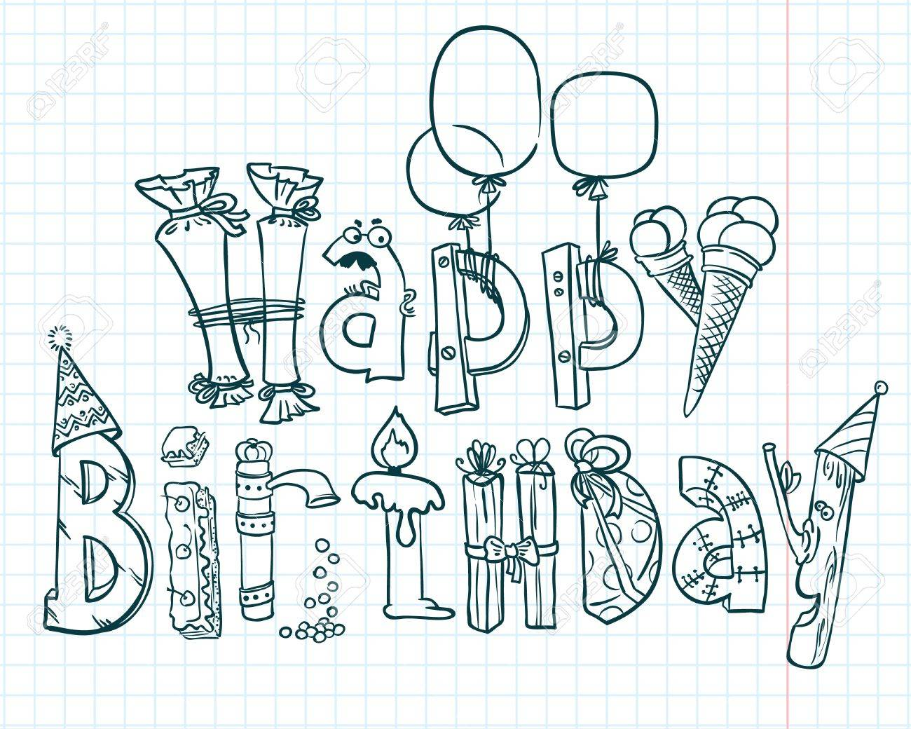 Happy Birthday Doodle Card Royalty Free Cliparts Vectors And – Doodle Birthday Card