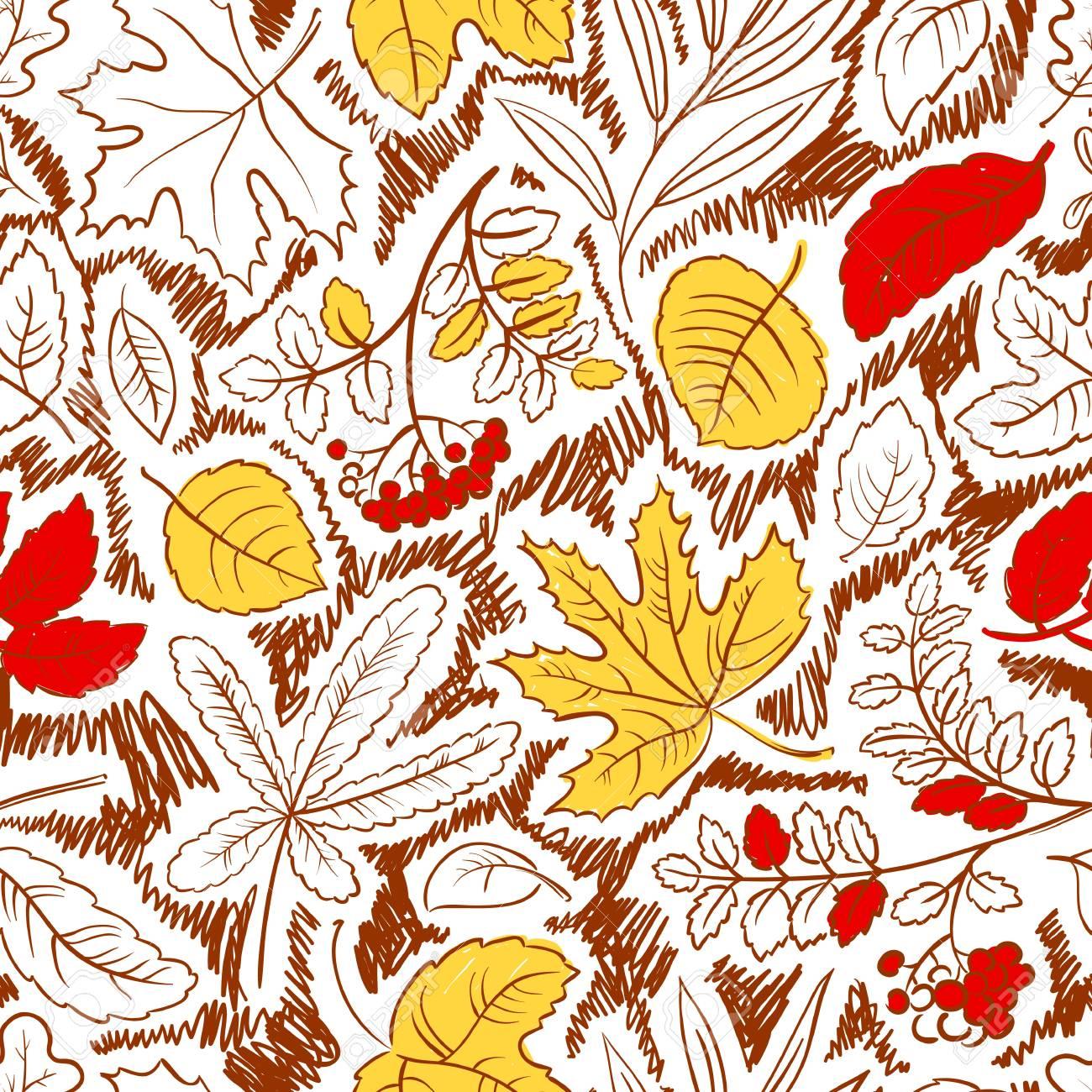 Autumn season seamless with leaves Stock Vector - 21796201