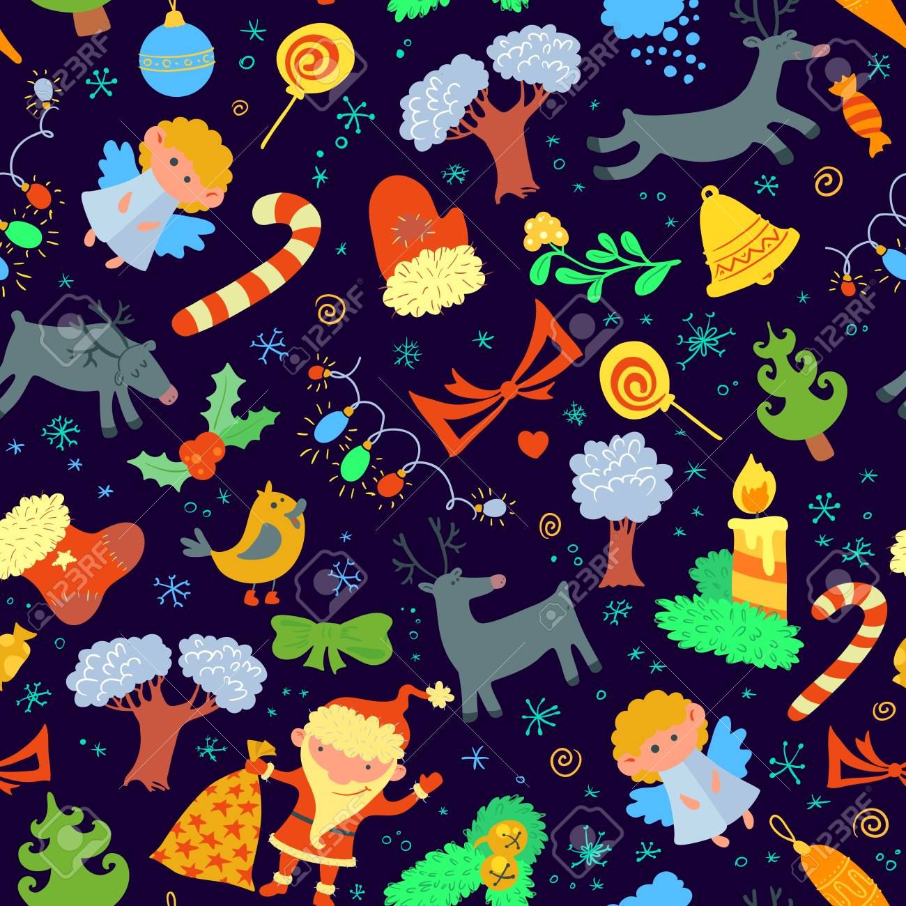 Seamless pattern with Christmas stuff Stock Vector - 22496188
