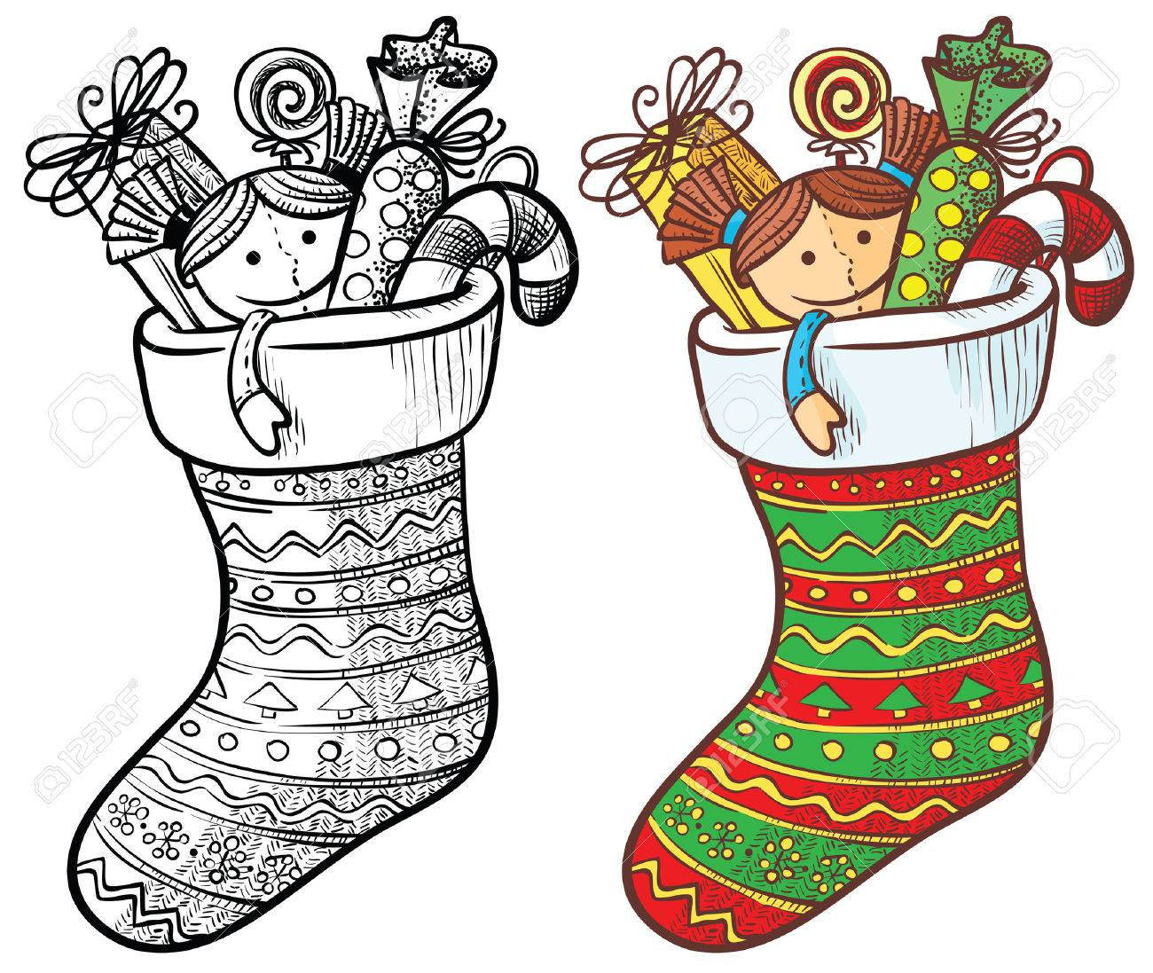 - Christmas Stocking With Gifts, Color And Doodle Version Royalty