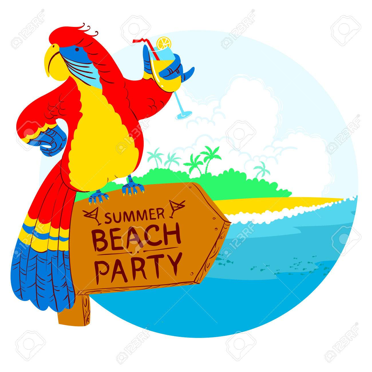 vector illustration with cartoon red parrot with cocktail on rh 123rf com beach party clip art free beach party invitation clip art