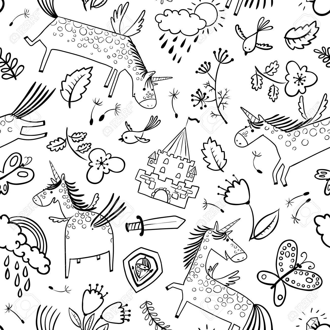 Rainbow magic weather fairies coloring pages - Rainbow Clouds Vector Doodle Seamless Pattern With Magic Unicorns Background With Rainbow Clouds