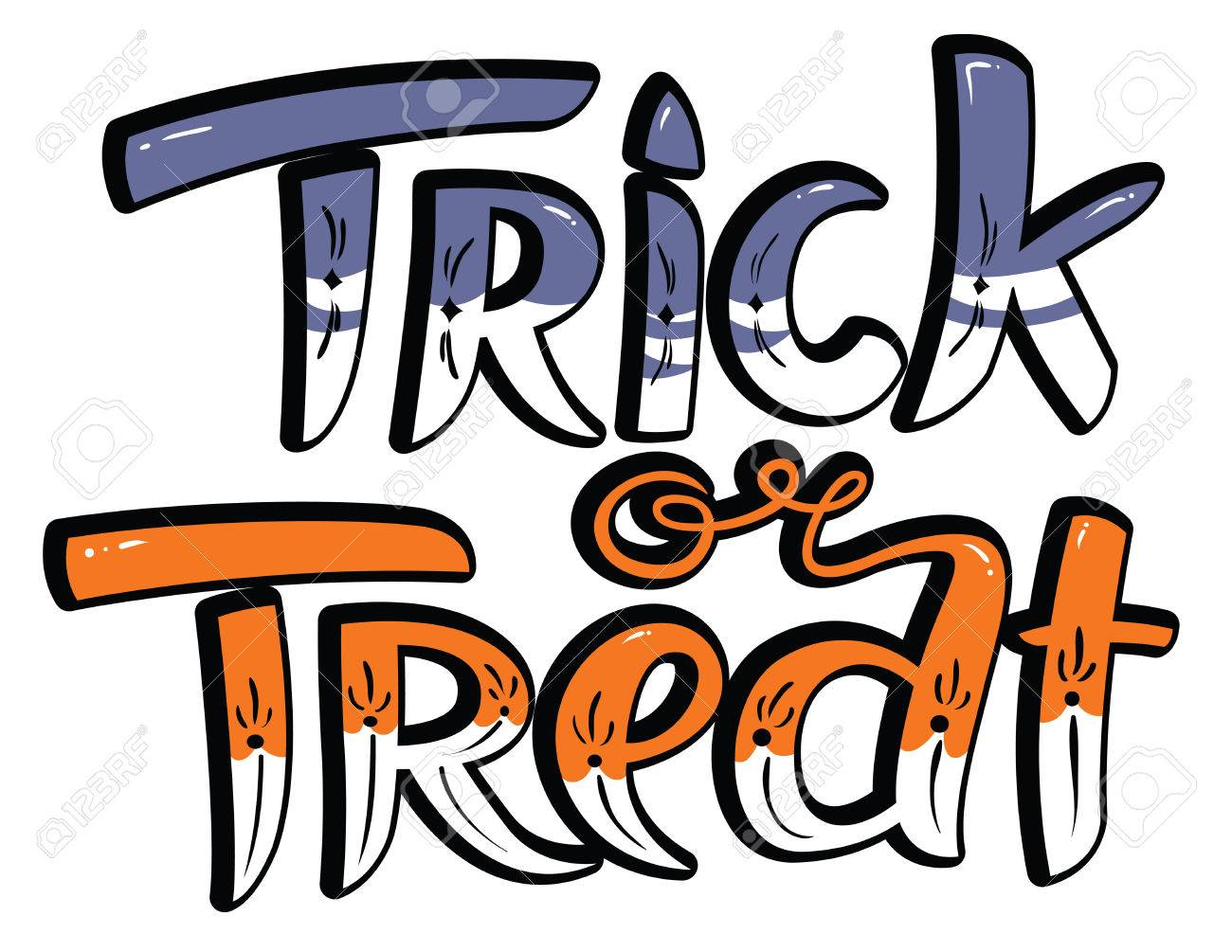 Trick Or Treat Halloween Lettering Composition. Hand-drawing ...