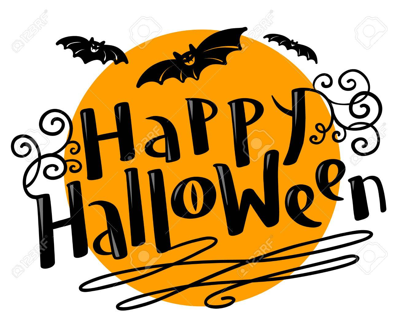 Happy halloween hand drawing lettering coposition with bats happy halloween hand drawing lettering coposition with bats silhouette celebration october vector illustration with kristyandbryce Images