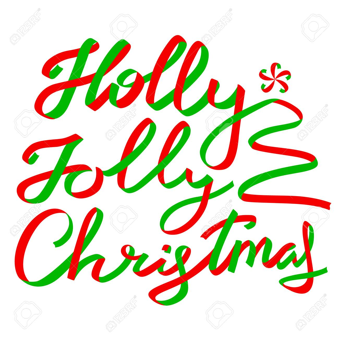 Holly Jolly Christmas Calligraphic Lettering. New Year Background ...