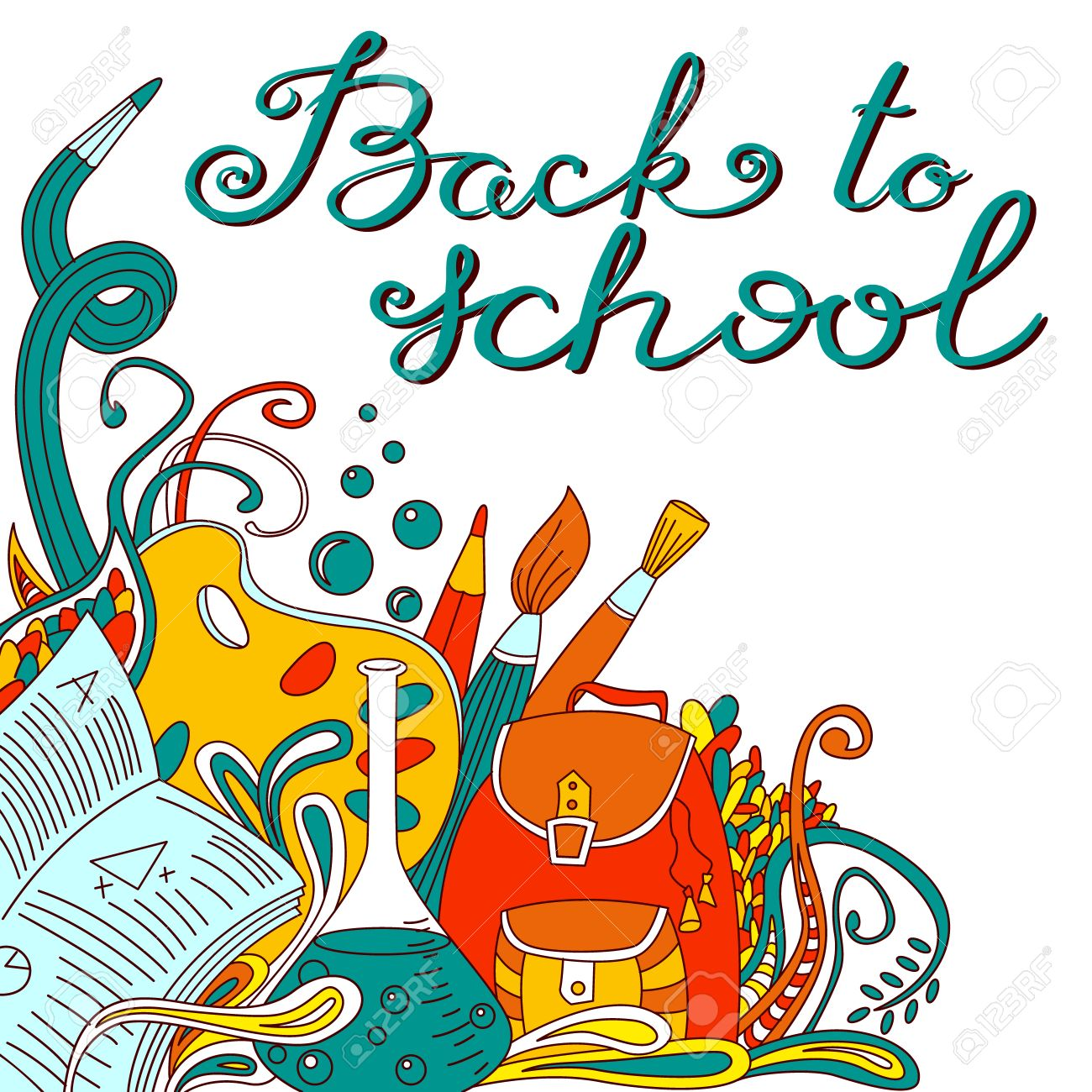 Back To School Hand Drawing Calligraphy Lettering. Educational ...