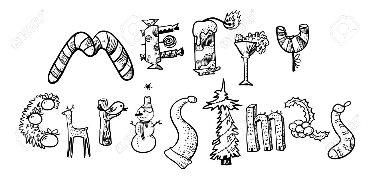 Merry Christmas Hand Drawing Lettering. The Letters Silhouettes Are ...
