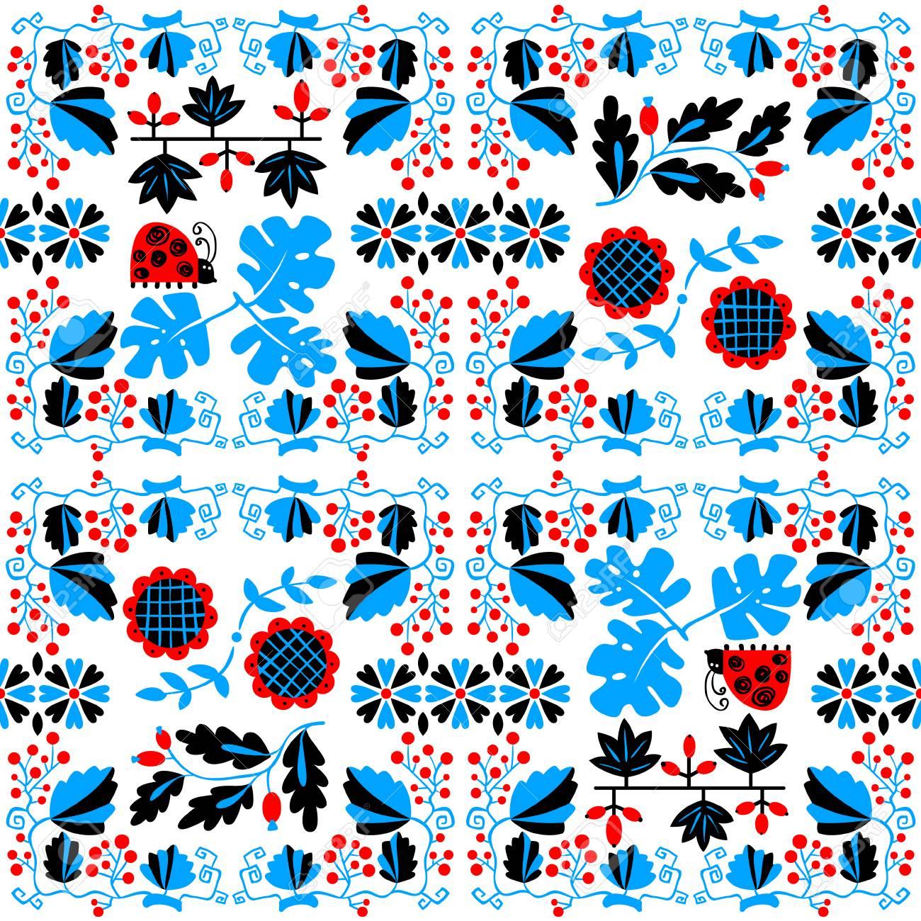 Floral Pattern Sans Couture Avec Coccinelle Et Vigne Fond Géométrique Avec Des Plantes De Dessin Animé Plat Et Des Baies Et Des Fleurs Elemenr De