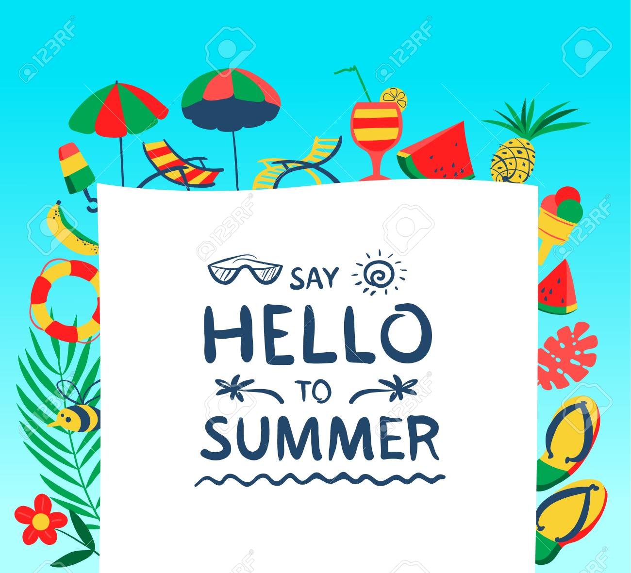 98064e6387274 Summer background with beach objects. Vector illustration with fruits