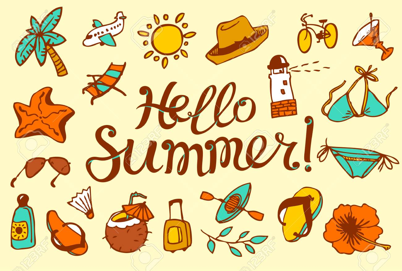 Hello Summer Lettering. Background With Summer And Beach Objects. Vector  Illustration With Summer Flowers