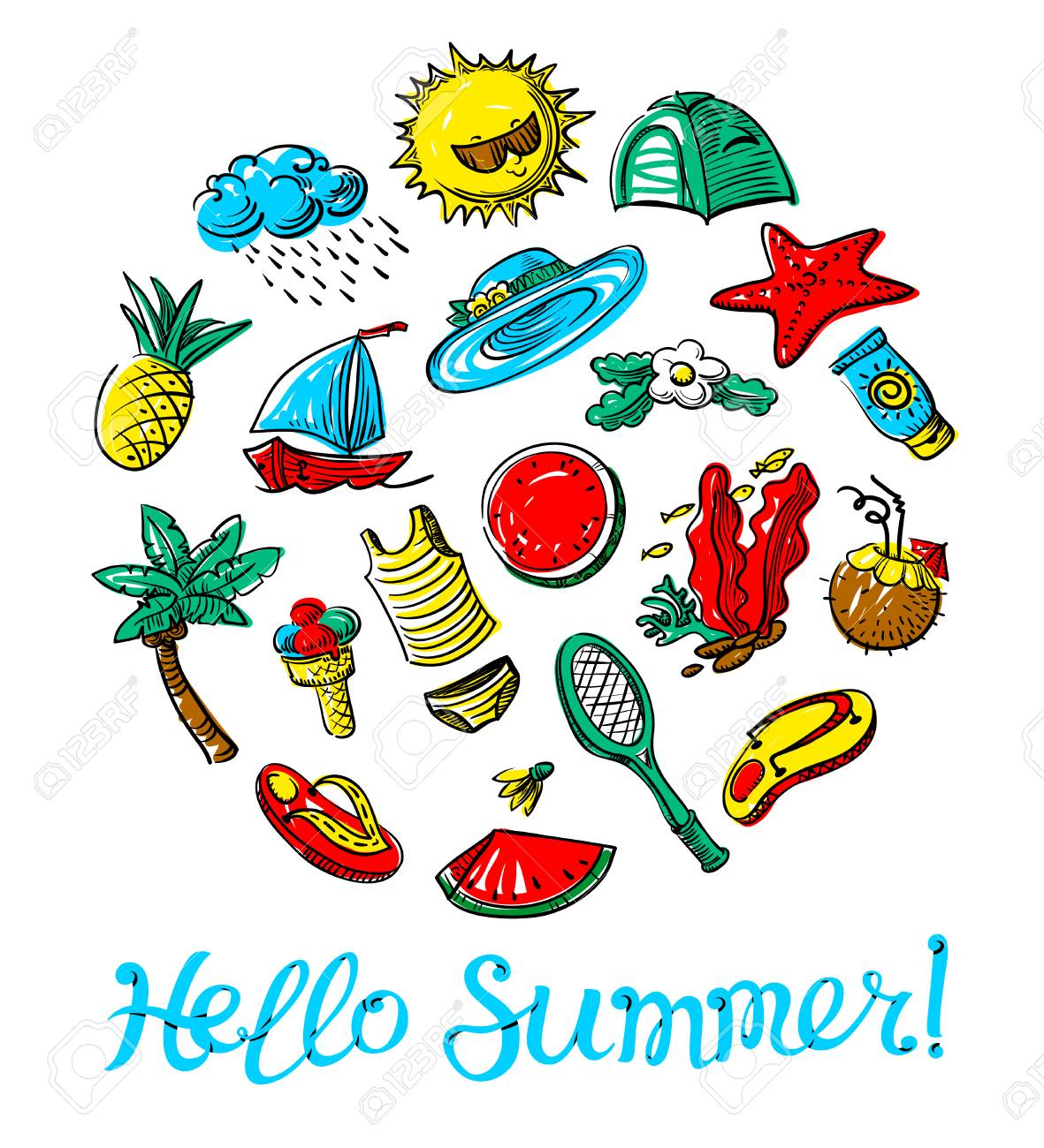 Superbe Hello Summer Lettering. Doodle Objects Badminton, Palm Tree, Flip Flops,  Sun Cream