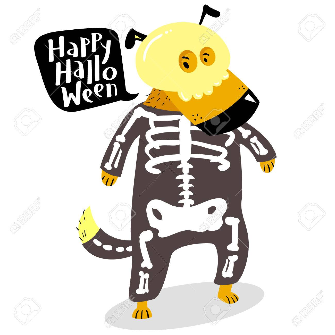 Halloween dog character in skeleton costume with skull and bones. Happy Halloween lettering in speech  sc 1 st  123RF.com & Halloween Dog Character In Skeleton Costume With Skull And Bones ...