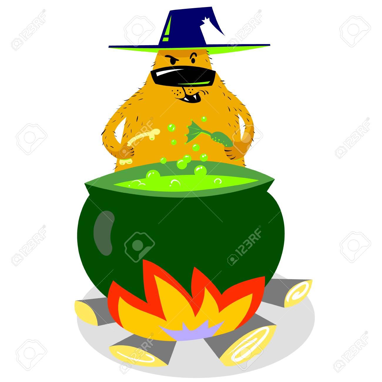 Personnage De Chien Halloween En Chapeau De Sorcière Avec Chaudron