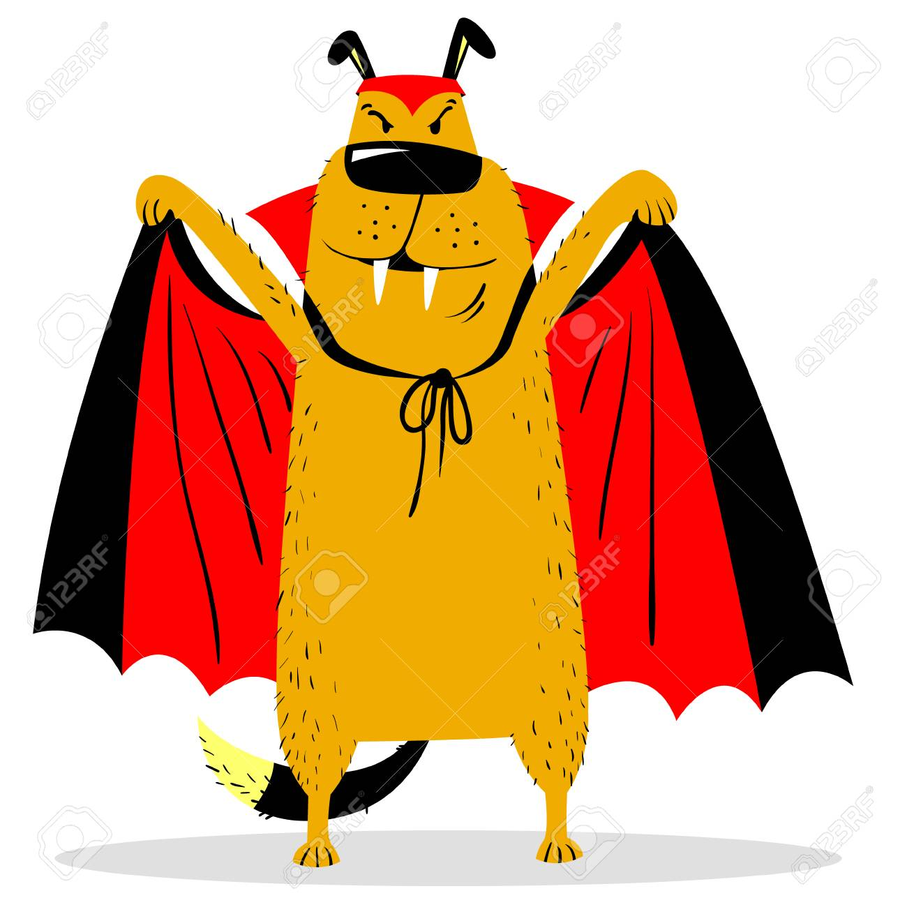Halloween Dog Character In Costume Of Vampire Horror Bat