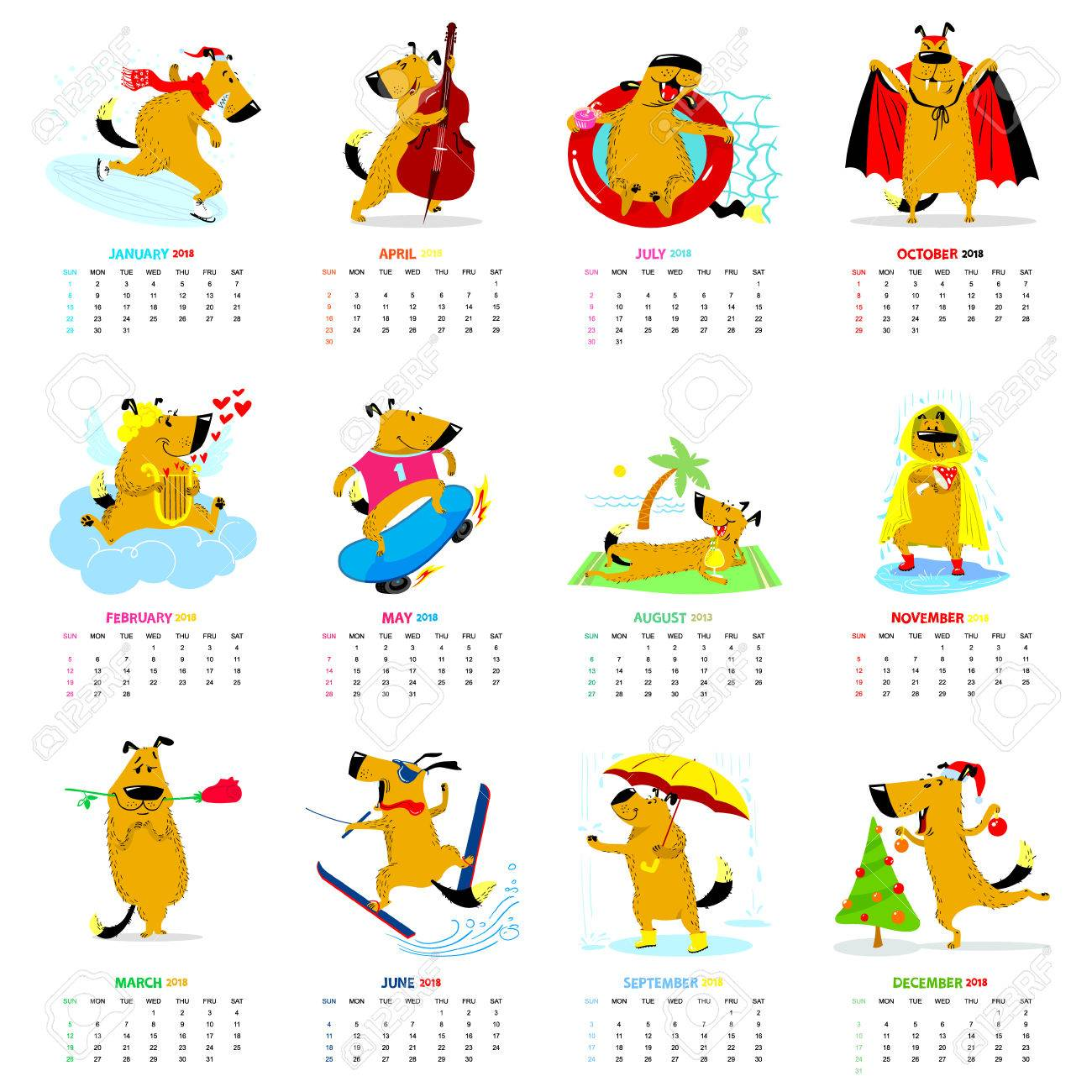 monthly calendar 2018 with cute dogs winter spring summer autumn seasons characters