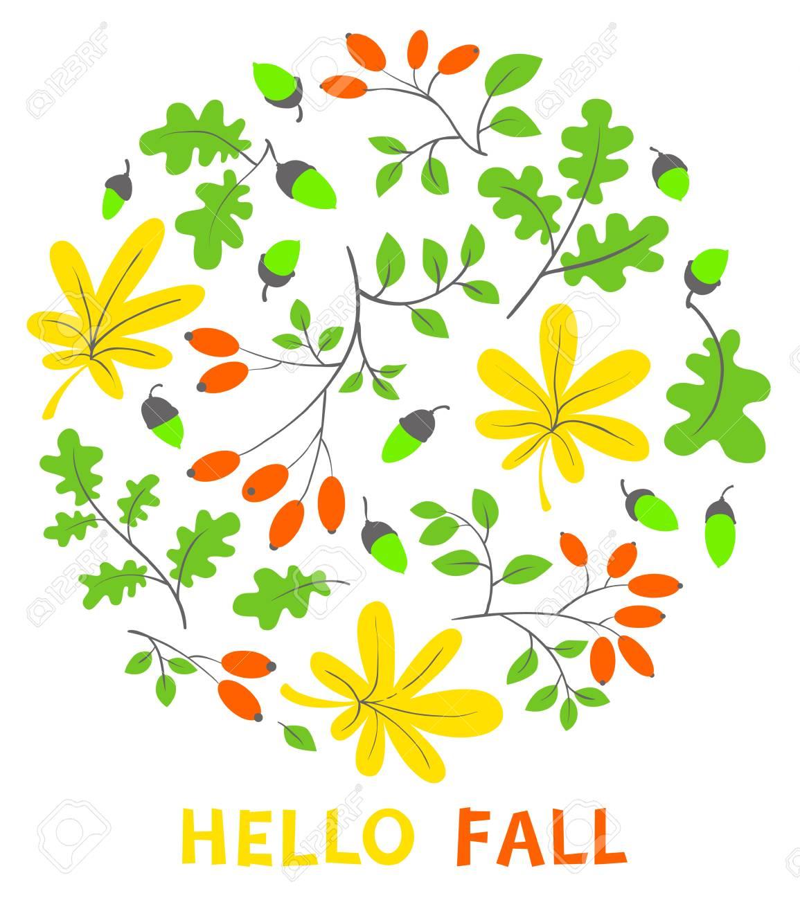 秋の花のカードです秋シーズン ベクトル イラスト明るい葉どんぐり