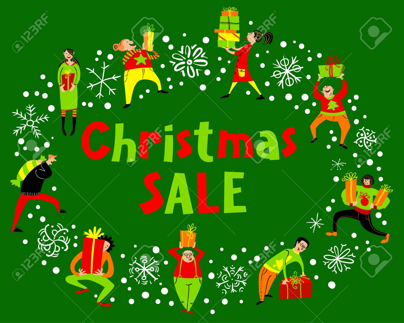 People With Christmas Gifts. Christmas Sale Lettering. Group ...