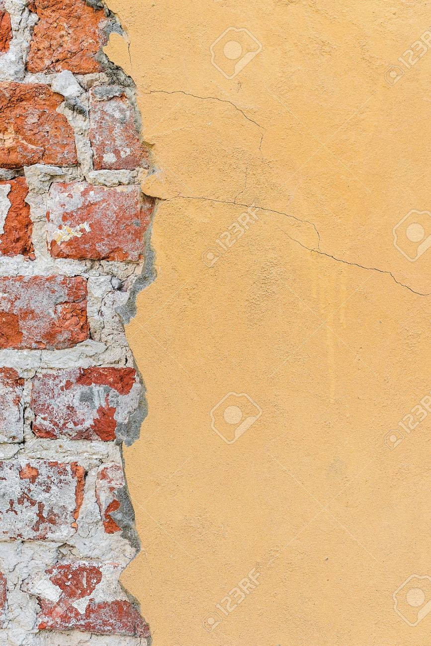 Background Old Wall Paint Different Textures Yellow Brick Plaster ...
