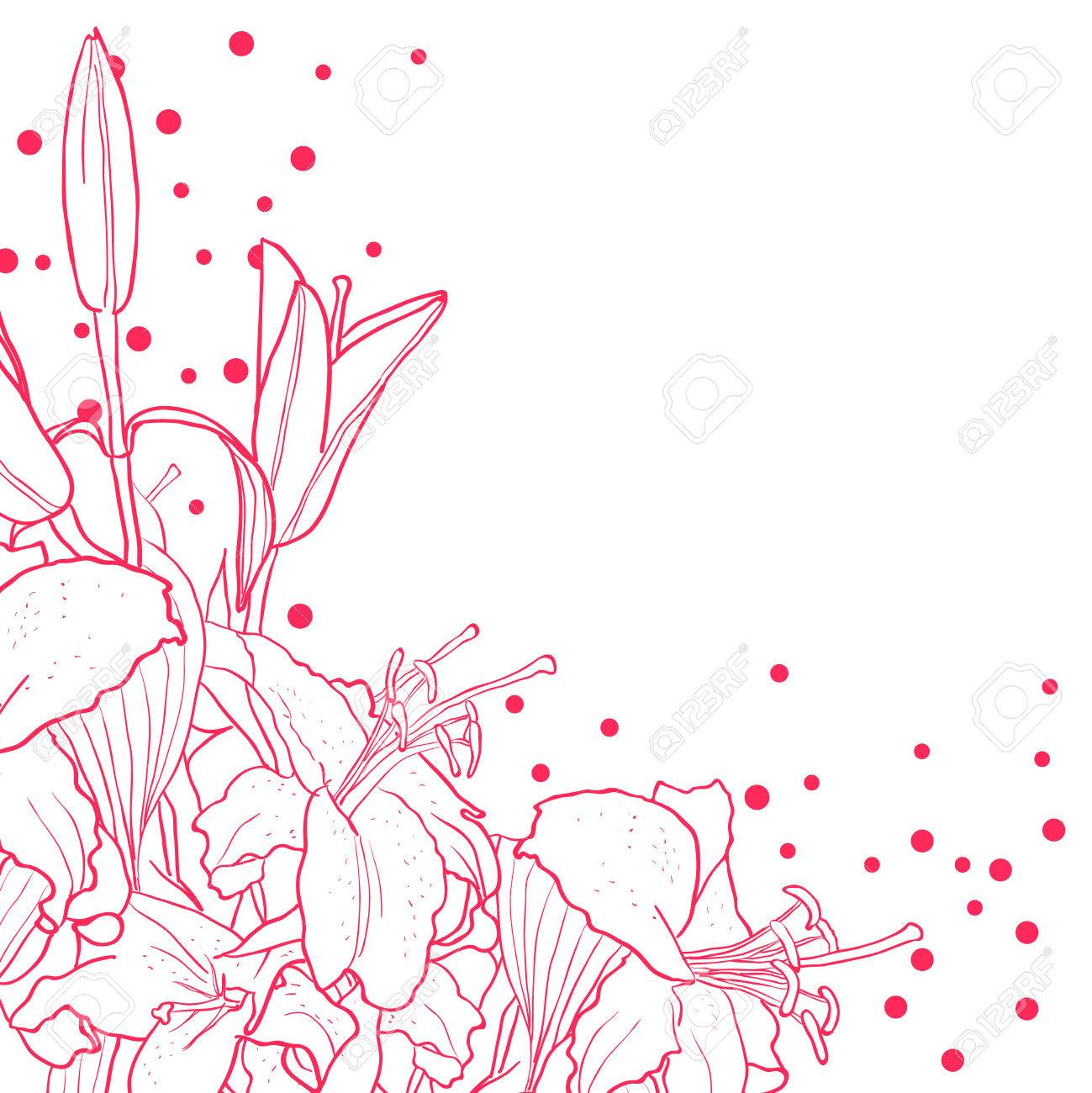 Romantic floral background for wedding funeral birthday romantic floral background for wedding funeral birthday invitation vector hand drawn lily stopboris Image collections