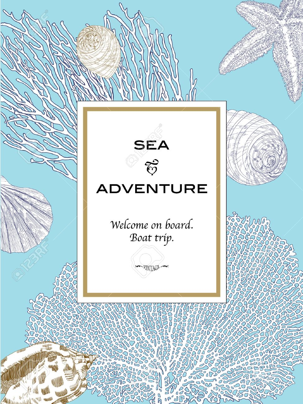 vertical card in marine style with seashell starfish and coral