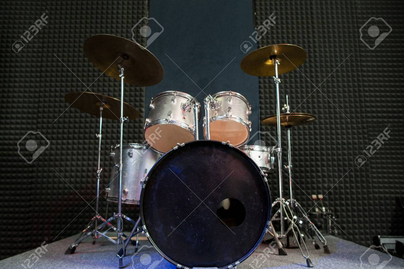 Modern Drum Set On Black Stage Background Prepared For Playing