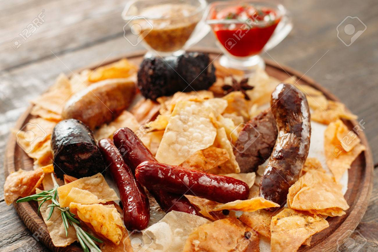 Beer Snacks Set On Wooden Plate Closeup Of Wooden Catering Platter Stock Photo Picture And Royalty Free Image Image 58959975