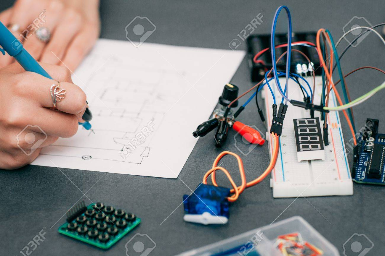 Wiring Diagram Drawing With Breadboard Electronic Construction Circuit To Stock Photo Developing Female Engineer In Laboratory Smart Woman Hobby And Electronics