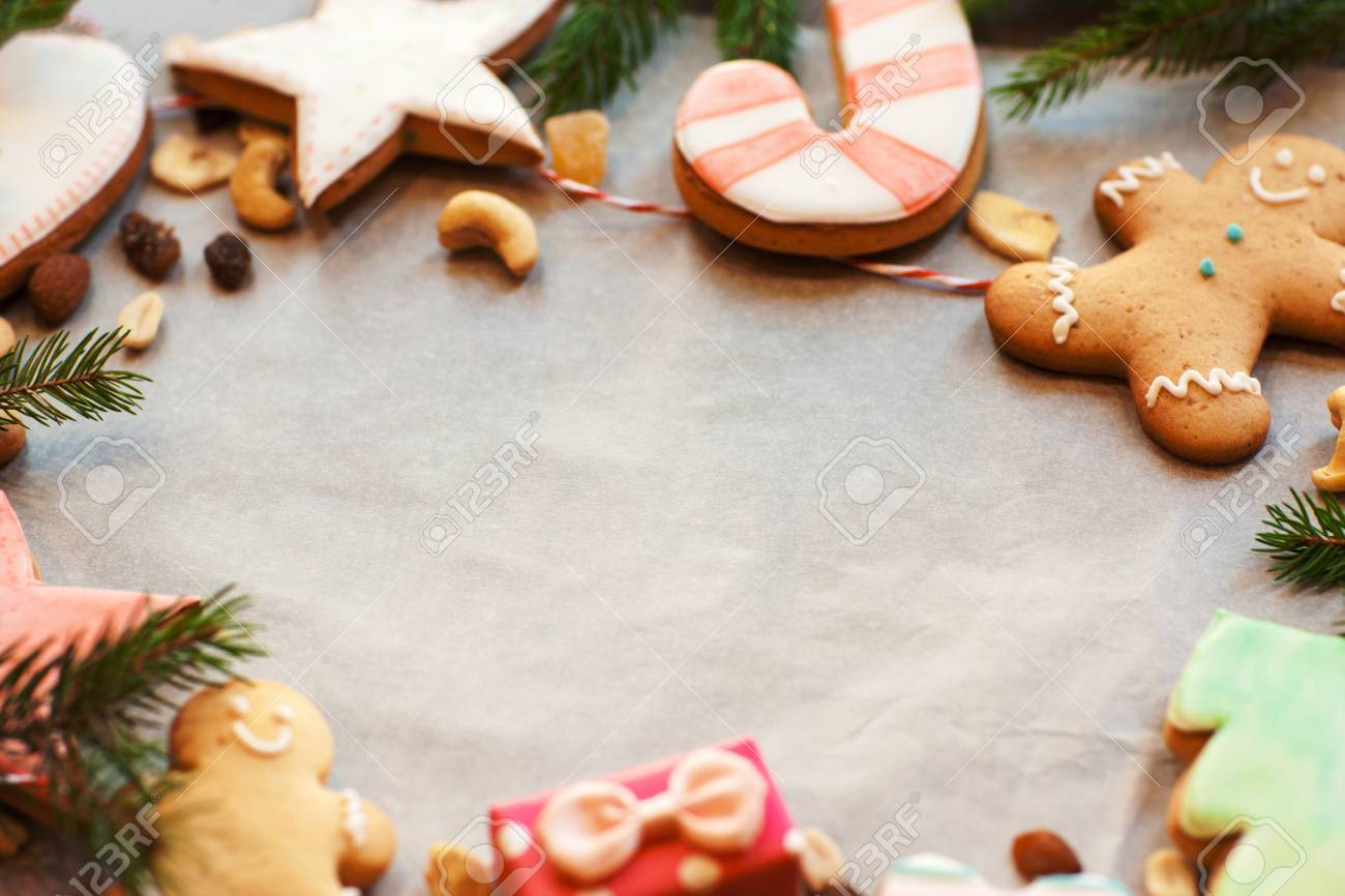 Gingerbread Cookies Frame On Culinary Parchment Free Space
