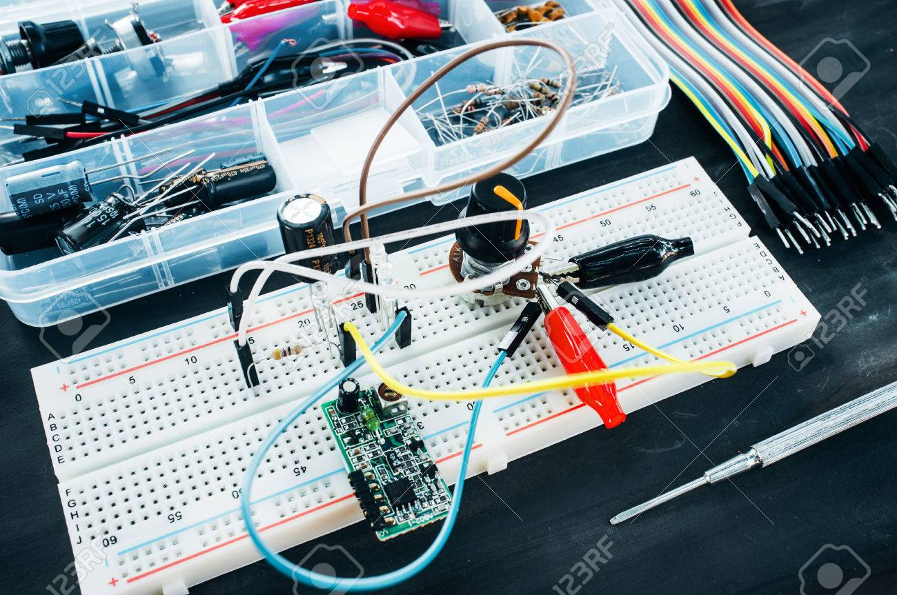 Set Of Electronic Details For Robotics Construction Breadboard Catalog Prototyping Wiring Kits With Special Connections Colorful Wires And
