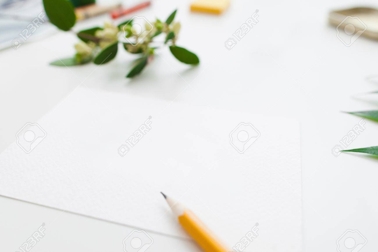 Blank Paper With Pencil And Flowers Free Space Preparing For