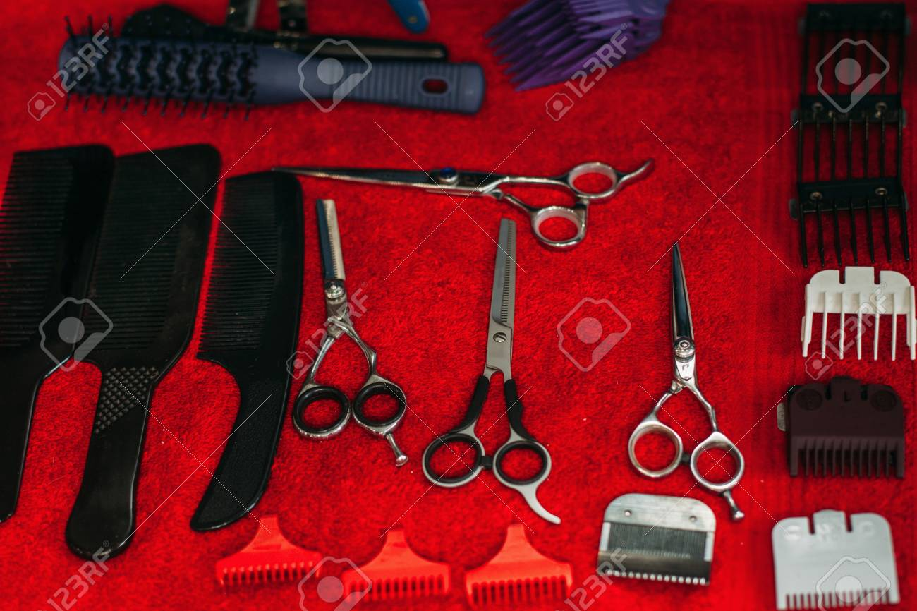 work instruments of hairstylist on table cutting tools of